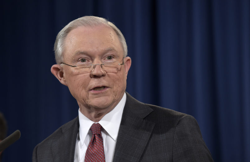 Attorney General Jeff Sessions speaks at the Justice Department in Washington, Thursday, March 2, 2017. (AP Photo/Susan Walsh)