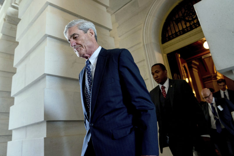 Former FBI Director Robert Mueller, the special counsel probing Russian interference in the 2016 election, departs Capitol Hill following a closed door meeting, Wednesday, June 21, 2017, in Washington. (AP Photo/Andrew Harnik)