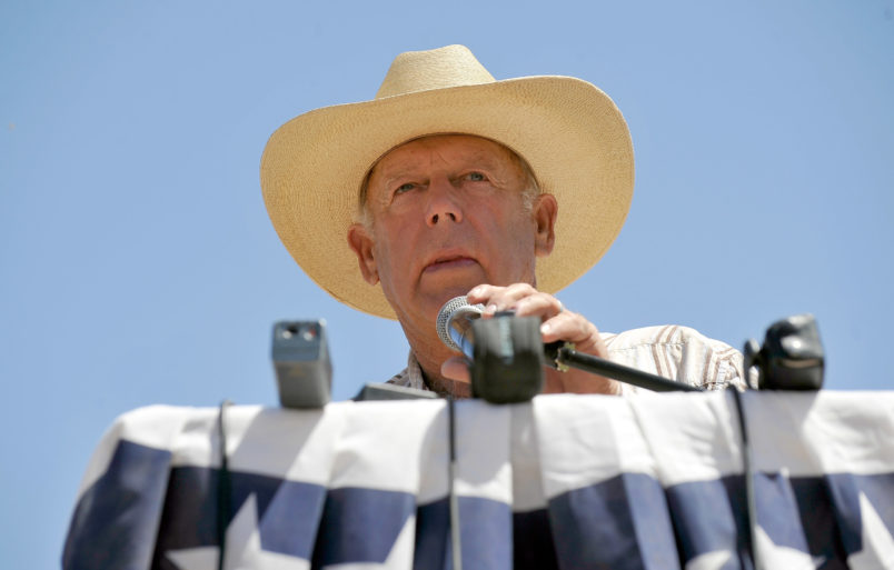 on April 24, 2014 in Bunkerville, Nevada.  The Bureau of Land Management and rancher Cliven Bundy have been locked in a dispute for a couple of decades over grazing rights on public lands.