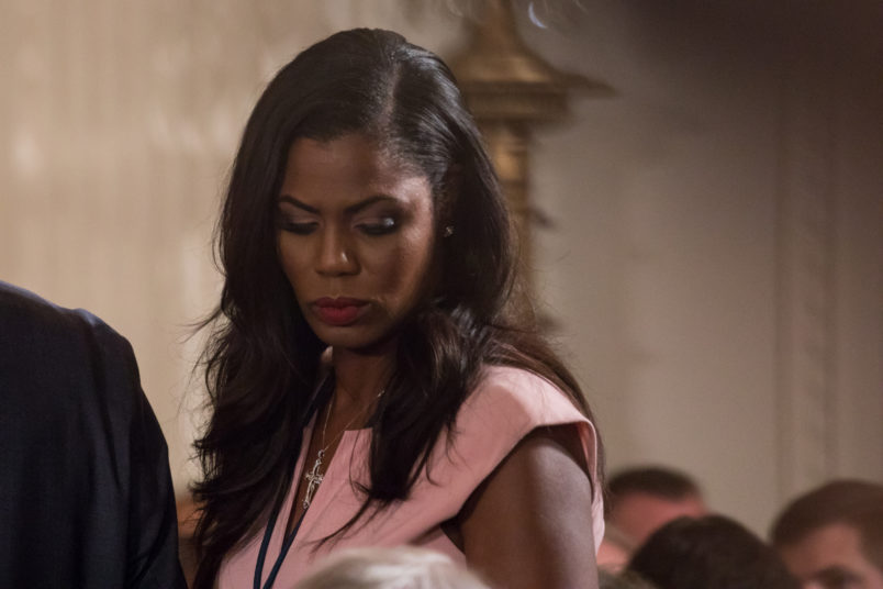 Omarosa Manigault, director of communications for the Office of Public Liaison for the Trump administration, was present for he Medal of Honor ceremony for former Specialist Five James C. McCloughan, U.S. Army in the East Room of the White House, on Monday, July 31, 2017. (Photo by Cheriss May) (Photo by Cheriss May/NurPhoto)