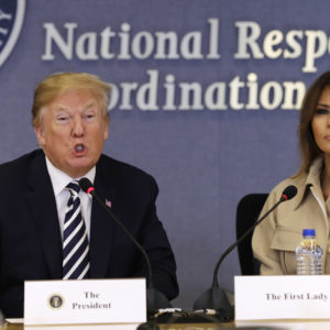 WASHINGTON, DC - JUNE 6: (AFP OUT) U.S. President Donald Trump and First Lady Melania Trump attend the 2018 Hurricane Briefing at the Federal Emergency Management Agency Headquarters (FEMA) on June 6, 2018 in Washington, DC. (Photo by Yuri Gripas - Pool/Getty Images)