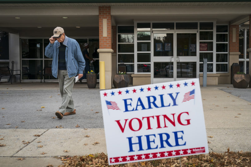 FRANKLIN, TN - OCTOBER 31: A man exits an early voting polling place at the Williamson County Clerk's office, October 31, 2018 in Franklin, Tennessee. U.S. Rep. Marsha Blackburn, who represents Tennessee's 7th Congressional district in the U.S. House, is running in a tight race against Democratic candidate Phil Bredesen, a former governor of Tennessee. The two are competing to fill the Senate seat left open by Sen. Bob Corker (R-TN), who opted to not seek reelection. (Photo by Drew Angerer/Getty Images)