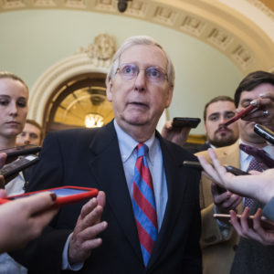 UNITED STATES - JANUARY 25: Senate Majority Leader Mitch McConnell, R-Ky., talks with reporters outside the Senate chamber about a continuing resolution to re-open the government on Friday, January 25, 2019. (Photo By Tom Williams/CQ Roll Call)