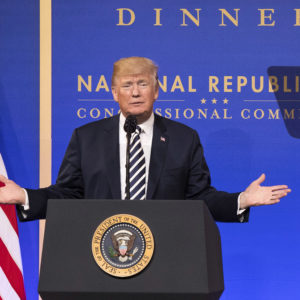 President Donald Trump delivers remarks at the National Republican Congressional Committee March Dinner at the National Building Museum on March 20, 2018 in Washington, D.C. Photo by Kevin Dietsch/UPI