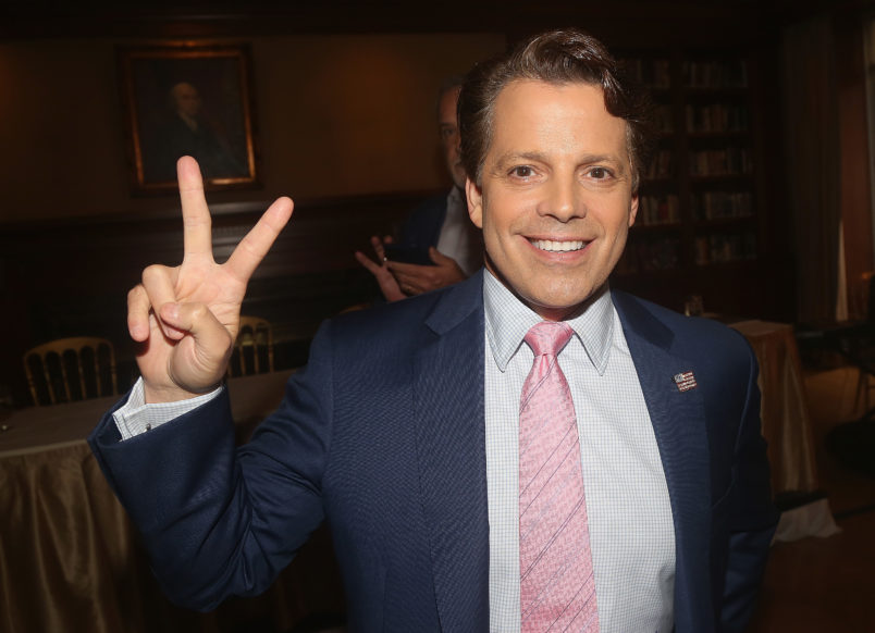 """NEW YORK, NY - AUGUST 22:  Anthony Scaramucci poses at """"The 1st Annual Trump Family Special"""" Off-Broadway Press Conference at The Princeton Club of New York on August 22, 2018 in New York City.  (Photo by Bruce Glikas/Bruce Glikas/Getty Images) *** Local Caption *** Anthony Scaramucci"""