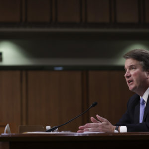 WASHINGTON, DC - SEPTEMBER 6: Supreme Court nominee Judge Brett Kavanaugh testifies before the Senate Judiciary Committee on the third day of his Supreme Court confirmation hearing on Capitol Hill September 6, 2018 in Washington, DC. Kavanaugh was nominated by President Donald Trump to fill the vacancy on the court left by retiring Associate Justice Anthony Kennedy. (Photo by Drew Angerer/Getty Images)