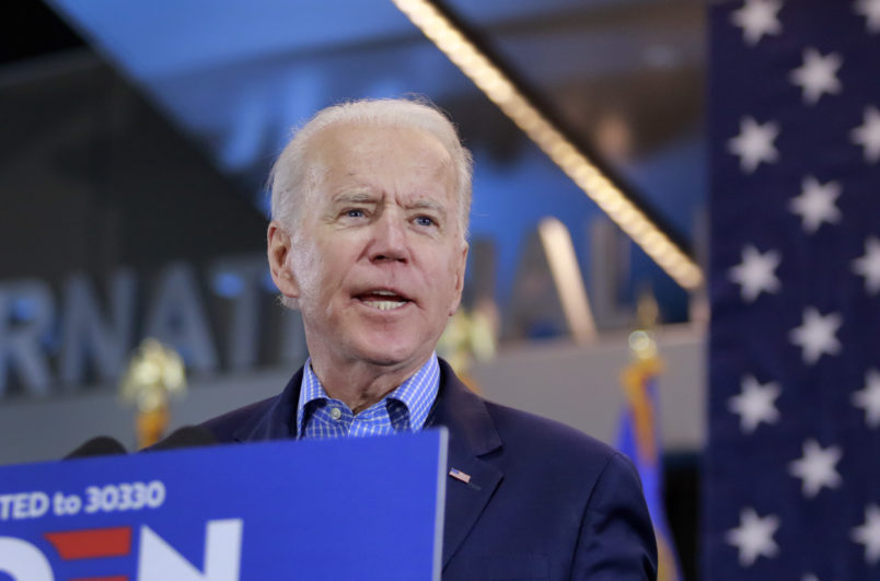 Democratic presidential hopeful and former Vice President Joe Biden speaks at a Nevada Caucus watch party on February 22, 2020, in Las Vegas, Nevada, during the Nevada caucuses. (Photo by Ronda Churchill / AFP)