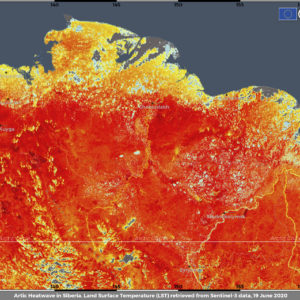 FOR HOLD This image provide by ECMWF Copernicus Climate Change Service on June 23, 2020 shows the Land Surface Temperature in Siberia (ECMWF Copernicus Climate Change Service via AP)