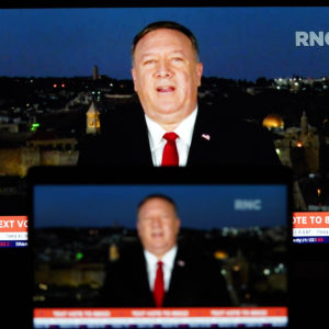 WASHINGTON, Aug. 26, 2020 -- Photo taken on Aug. 25, 2020 shows screens displaying U.S. Secretary of State Mike Pompeo giving a speech to the Republican National Convention (RNC) from Jerusalem. U.S. House Democrat Joaquin Castro on Tuesday announced that he had launched an investigation into Secretary of State Mike Pompeo's speech to the RNC on Tuesday night. (photo by Liu Jie/Xinhua via Getty)