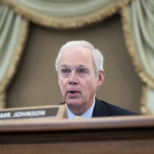 UNITED STATES - JANUARY 26 : Sen. Ron Johnson, R-Wis., questions Gina Raimondo, nominee for Secretary of Commerce, during her Senate Commerce, Science, and Transportation Committee confirmation hearing in Russell Senate Office Building in Washington, D.C., on Tuesday, January 26, 2021. (Photo By Tom Williams/CQ Roll Call/POOL)