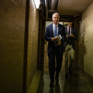WASHINGTON, DC - JUNE 08: Senator Chris Van Hollen (D-MD) walks through the basement of the U.S. Capitol building following a vote in the Senate on June 8, 2021 in Washington, DC. Senate Democrats and Republicans are continuing their negations on President Joe Biden's infrastructure plan and have yet to come to a deal. (Photo by Samuel Corum/Getty Images) *** Local Caption *** Chris Van Hollen