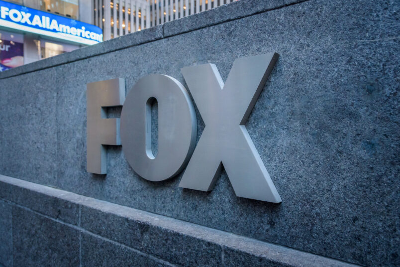 MANHATTAN, NEW YORK, UNITED STATES - 2019/12/20: FOX logo outside the News Corporation Building at 1211 Sixth Avenue, Fox News Headquarters in NYC. (Photo by Erik McGregor/LightRocket via Getty Images)